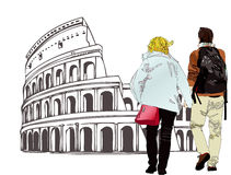 An engaged couple in Rome - Italy. Image depicting a pair of boyfriends walking in Rome Stock Photos