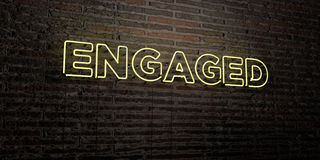 ENGAGED -Realistic Neon Sign on Brick Wall background - 3D rendered royalty free stock image Royalty Free Stock Images