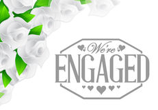 We are engaged stamp roses border Royalty Free Stock Photo