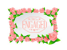 We are engaged stamp seal and roses board Royalty Free Stock Images
