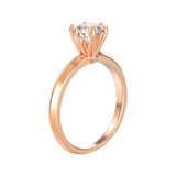 engagem traditionnel de solitaire de l'or 3D rose d'isolement par illustration Images libres de droits