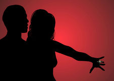 Engagement 2. Silhouette of couple celebrating engagement Royalty Free Stock Images