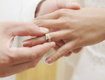 Engagement. Close up of hands and wedding ring Stock Photo