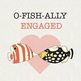 Engagement announcement vector banner. Fun we are getting married pun design. Two kissing fishes in front of a heart. Triggerfish stock images
