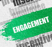 Engagement on Brickwall. Royalty Free Stock Photography