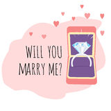 Engagement Card. Box with Diamond Ring. Will You Marry Me? Stock Images