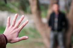 Engagement Couple holding ring stock images