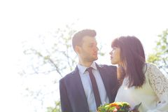 Engagement couple posing in park royalty free stock photo