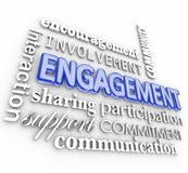 Engagement 3d Word Collage Interaction Participation Involvement Stock Photos