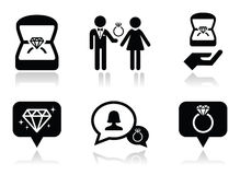 Engagement, diamond ring in box  icons set Royalty Free Stock Photography