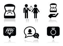 Engagement, diamond ring in box icons set vector illustration