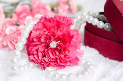 Engagement diamond ring in pink carnation flower Stock Images
