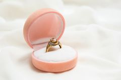Engagement gold ring Stock Image