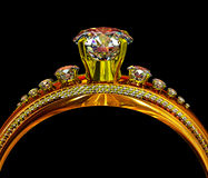Engagement gold ring with jewelry gem. Royalty Free Stock Image