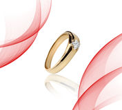 Engagement Gold with stone ring Stock Photos