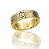 Engagement Gold with stone ring Royalty Free Stock Images