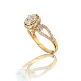 Engagement Gold with stone ring Stock Photography