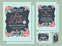 Engagement invitation template with topical flower. Design in soft sea foam green color tone 5x7 inches size,Save the date card 5x7 inches size, respond card Stock Photography
