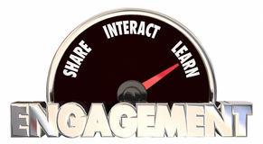 Engagement Level Share Involve Interact Communicate. 3d Words Stock Photo