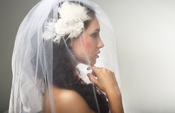 Engagement. Loveliness. Side view of Sincere Affectionate Woman in Veil. Marriage. Profile of Sincere Affectionate Pensive Bride royalty free stock photography