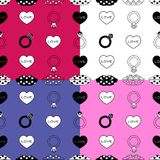 Engagement pattern set in four background colors stock illustration