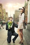 Engagement proposal. Photo of engagement proposal of very handsome couple Royalty Free Stock Image