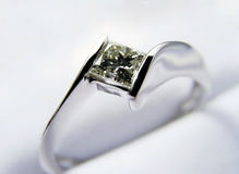 Engagement ring. White gold and diamond Stock Photo