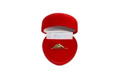 Engagement ring. In red velvet box royalty free stock photos