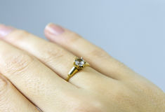 Engagement Ring. On womans hand Royalty Free Stock Photo