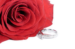 Engagement Ring. Diamond engagement ring and a red rose,  on a white background Royalty Free Stock Photo