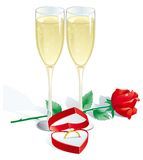 Engagement Ring. Two Vector Champagne Flutes, Red rose and Engagement Ring in Jewelry Box Stock Image
