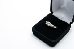 Engagement ring. Diamond and platinum engagement ring Royalty Free Stock Photography