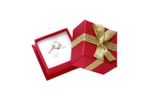 Engagement ring. In a gift box isolated on white Stock Image