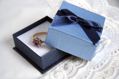 Engagement ring. Picture of engagement ring in blue box stock image