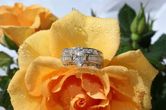 Engagement Ring. Beautiful engagement ring on a soft peach colored rose with water drops stock photo