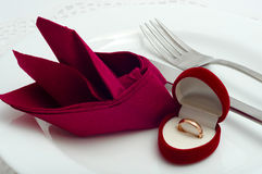 Engagement ring is beautifully served Royalty Free Stock Image