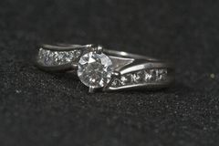 Engagement Ring on black Stock Photography