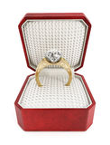 Engagement ring in the box Stock Images