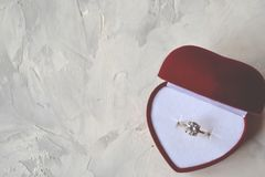 Engagement ring in the box. The ring as a symbol of love Royalty Free Stock Photo