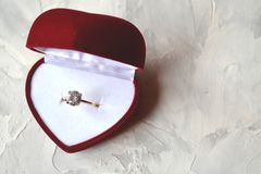Engagement ring in the box. The ring as a symbol of love Stock Images