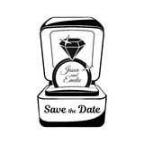 Engagement ring in box. Vector illustration  on white Royalty Free Stock Photo