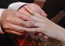 Engagement ring, bride and groom hands close up ring Royalty Free Stock Image