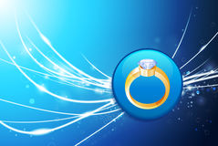 Engagement Ring Button on Blue Abstract Light Background Royalty Free Stock Photo