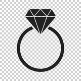 Engagement ring with diamond vector icon in flat style. Wedding Stock Images
