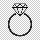 Engagement ring with diamond vector icon in flat style. Wedding Stock Photography