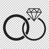 Engagement ring with diamond vector icon in flat style. Wedding Royalty Free Stock Photo