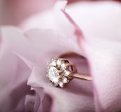 Engagement ring with diamonds in rose Royalty Free Stock Image