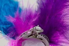Engagement Ring and feathers. White Gold diamond engagement ring with blue pink and purple feathers stock photography
