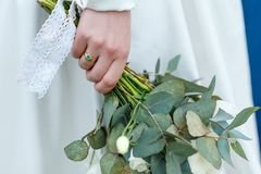Engagement ring on the finger of the bride.  Stock Photography
