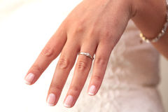 Engagement ring. French manicure. Closeup Royalty Free Stock Images